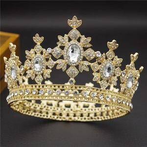 Image 5 - 美容高級バロック様式のヴィンテージライトゴールドラウンド王冠花嫁クラウンブライダルティアラロイヤルキング女王ヘアーピンウエディングジュエリー髪飾り