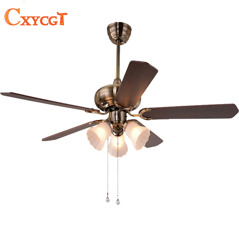 Foyer Ceiling Fan : Vintage ceiling fan with light kits and wood blade glass