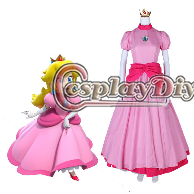 Cosplaydiy Custom Made Princess Peach Cosplay Pink Ball Gown Dress Girls Women Wedding Dress L320