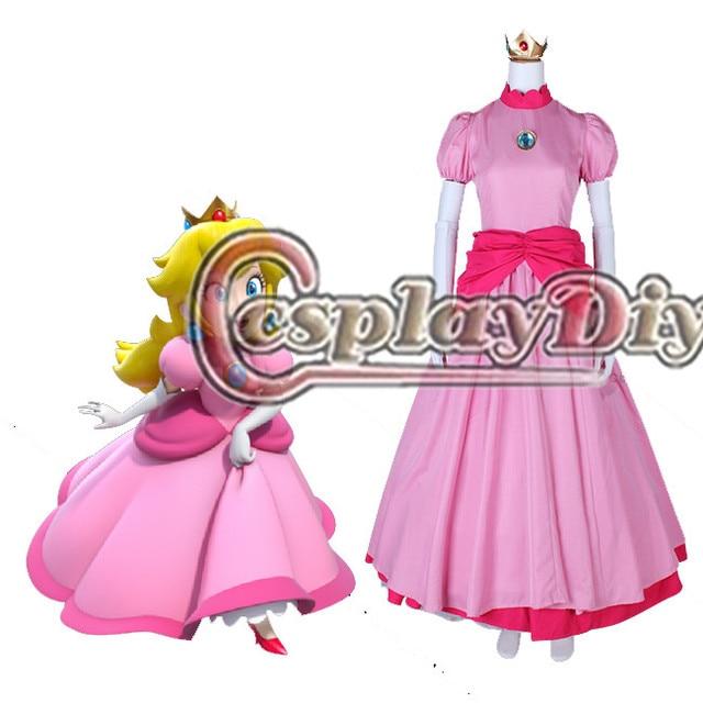 Cosplaydiy Custom Made Princess Peach Cosplay Pink Ball Gown Dress