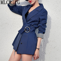 2019 New Spring Autumn Women Black Striped Office Lady Blazer Long Sleeve Jackets Business Blazers Suit Casaco Feminino LX97