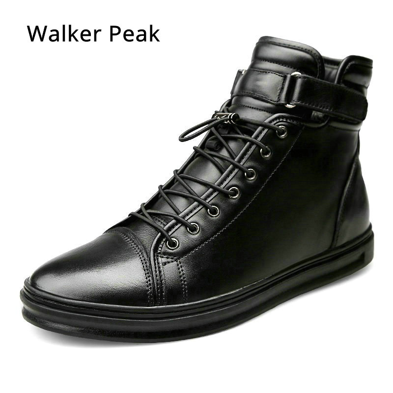 New Mens Casual shoes Genuine Leather High top Winter Shoes Lace up Ankle Boots Winter Shoes for men Warm Footwear Walker Peak все цены