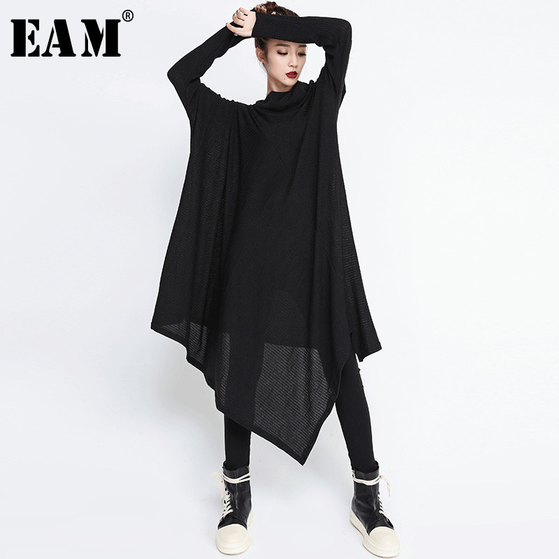[EAM] 2020 New Spring  Winter High Collar Long Sleeve Black Irregular Hem Loose Big Size Long Dress Women Fashion Tide JG636