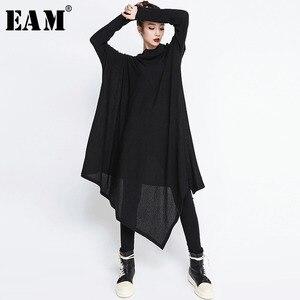 Image 1 - [EAM] 2020 חדש אביב חורף גבוה צווארון ארוך שרוול שחור סדיר Hem Loose גדול גודל ארוך שמלת נשים אופנה גאות JG636