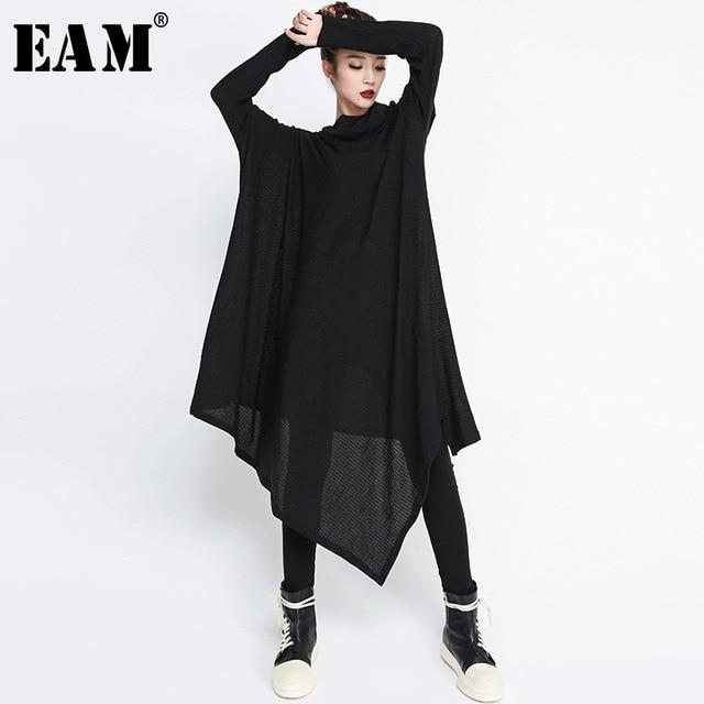 [EAM] 2020 חדש אביב חורף גבוה צווארון ארוך שרוול שחור סדיר Hem Loose גדול גודל ארוך שמלת נשים אופנה גאות JG636