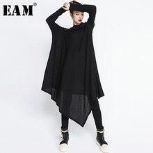 [EAM] vestido largo holgado de talla grande para mujer, Vestido largo con cuello alto, manga larga y dobladillo Irregular negro, moda de mujer JG636 2020