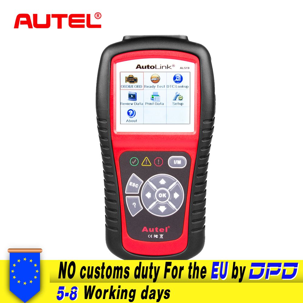 Autel AutoLink AL519 OBD2 Scanner Car DTC Reader Scan AL-519 OBDII Auto Diagnostic-Tool Code Reader OBD 2 II Scanner PK MS509 2017 xtuner x500 bluetooth auto obdii code reader scanner works on andriod windows x500 obd2 car diagnostic tool free shipping