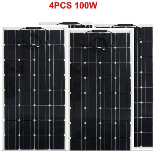 4*100W Flexible <font><b>Solar</b></font> <font><b>Panels</b></font> <font><b>100</b></font> <font><b>watts</b></font> <font><b>Solar</b></font> Module Charger for RV/Boat image