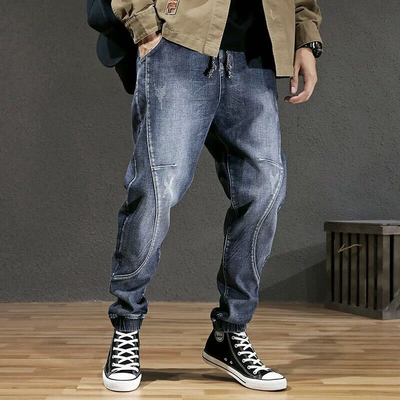 Men's Harlem Pants Black Jeans Men's Loose Tide Autumn Winter Bound Trousers Day Large Size Water Wash Long Trousers
