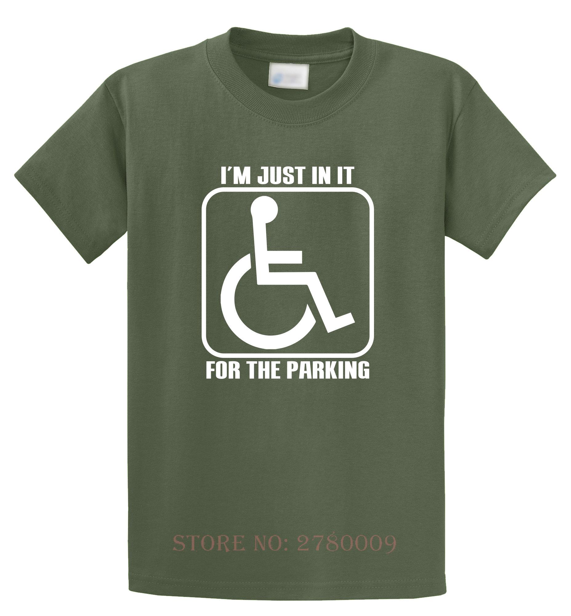 Я просто в нем для парковки забавная футболка Гандикап Коляске Юмор Тройник