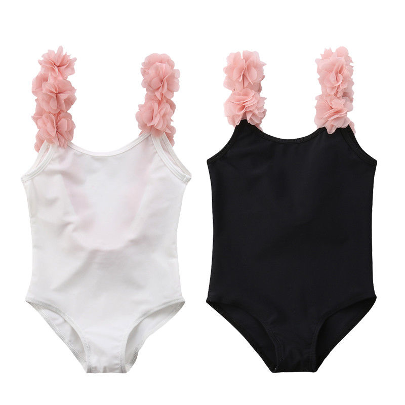 One-Piece Swimsuit Outfit Flower-Strap Backless Girls Sweet Kids Children Beach Summer title=