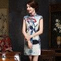 New Elegant Chinese Traditional Dress Peking Opera Mask Design Short Cheongsam QiPao Party Dress Vestidos