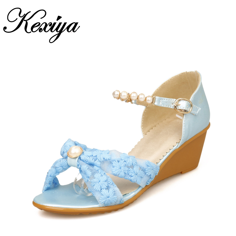 New big size 28 52 Leisure summer style women shoes solid PU + Mesh wedges heels beading decoration sandals HQW C 9