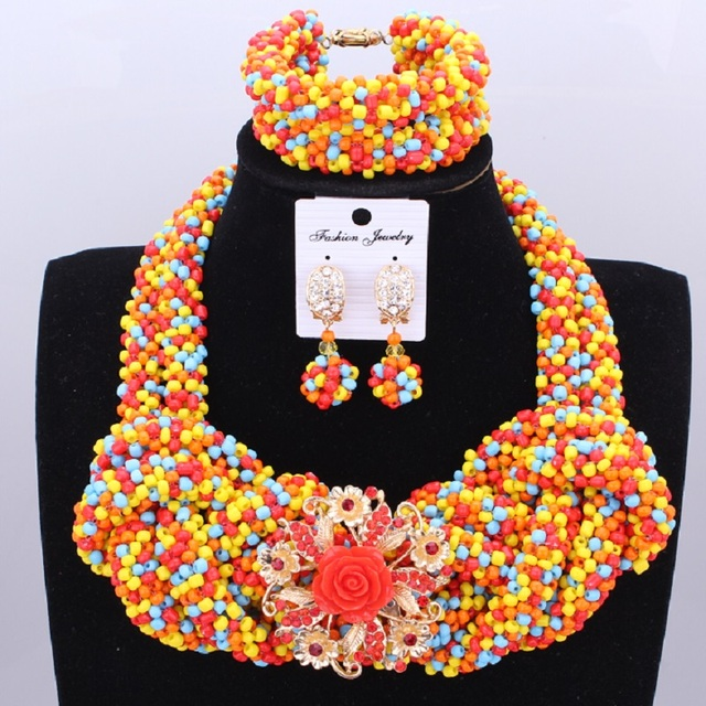 African Beads Jewelry Set Colorful Wedding Jewelry Set For Women Crystal Handmade Bridal Necklace Set of Jewelry Free Shipping