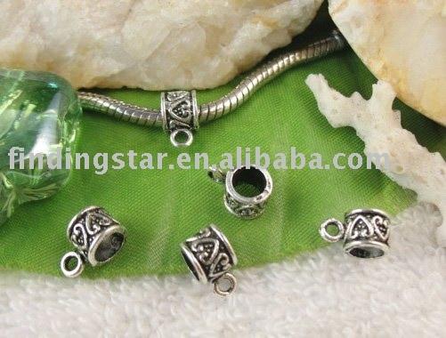 FREE SHIPPING 300pcs tibetan silver heart european bead bail w/big hole A11670