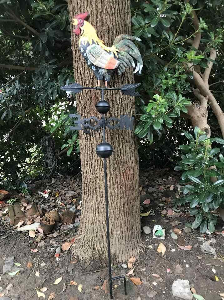 120 см Красочный декоративный петух погодные лопатки Железный ветер скорость Спиннер направление газон украшение для сада садовые украшения