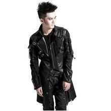Winter Punk Man Long Sleeve Poison Jacket Mens Gothic Rock Black Faux Leather Goth Steampunk Military Coat Plus Size 4XL 2016