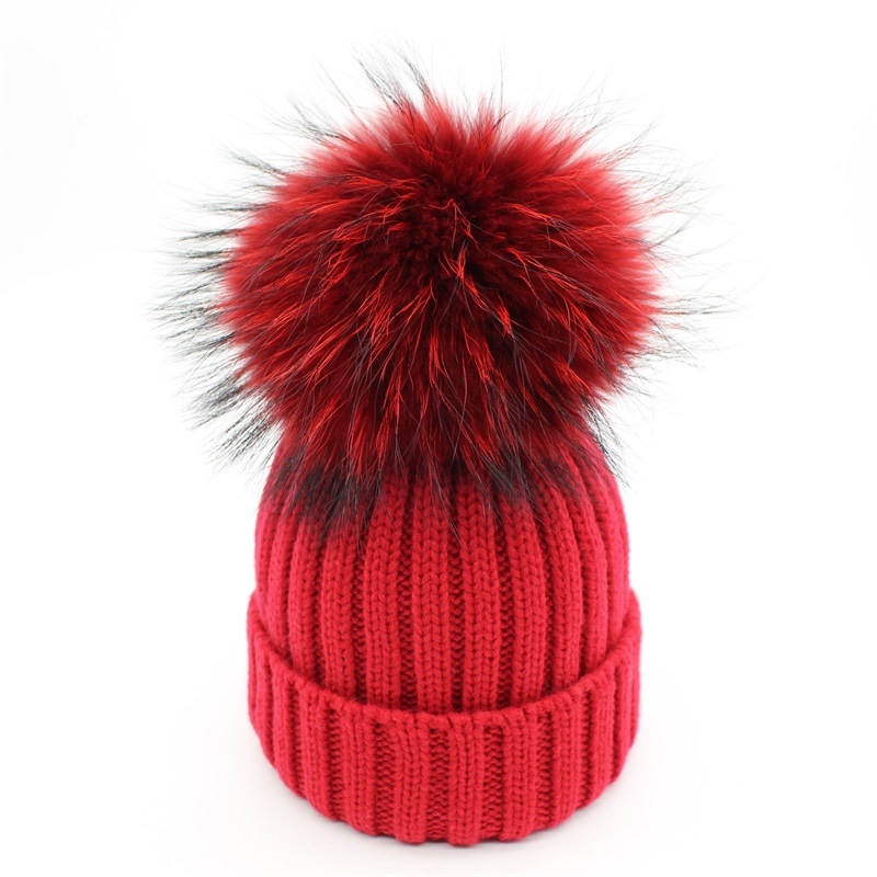 Colorful faux Raccoon fur pom poms hats knitted Warm   Skullies     Beanies   caps for women girls kids winter ski hats bonnet black red