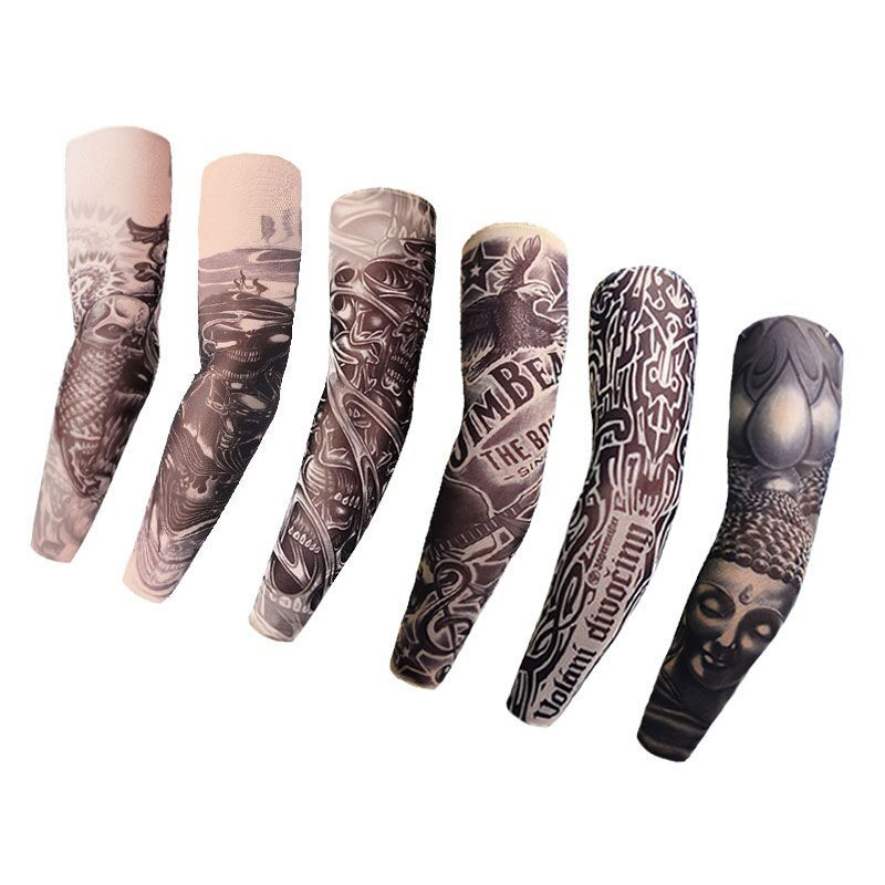 Outdoor Breathable Elastic Arm Warmer UV Cool 1PCS Unisex Tattoo Sleeves Fake Temporary Sports Dance Seamless Oversleeve New