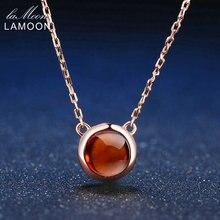 Lamoon 6 мм 1.2ct 100% натуральный Круглый Оранжевый Красный Гранат 925 цепь серебряные ювелирные изделия кулон Цепочки и ожерелья S925 LMNI026