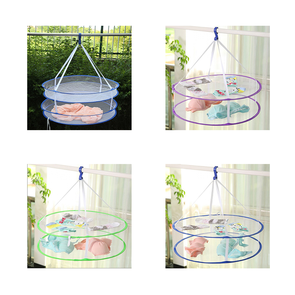New Super Useful S Hook Drying Rack Folding Hanging Clothes Laundry Basket Dryer Net 2 Styles