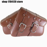 Universal Left Right Saddle Side Bags Motor PU Leather Tool Bags Brown For Honda For Yamaha For Harley Sportster XL 883 XL1200