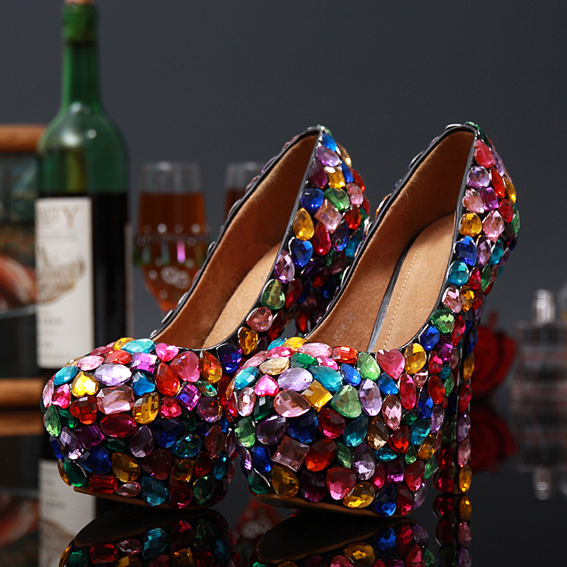 ФОТО Plus Size 31 - 43 Women sexy pumps 2017 women Candy color colorful thin heels Rhinestone platform high heels Wedding shoes