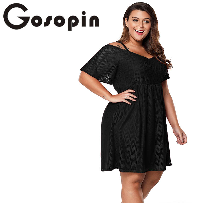 c1ddad50625f Gosopin Women 4xl Summer Dresses Plus Size Cold Shoulder Skater Dress  Fashion Sexy Club Party Shoulder Strap Dress Black LC61965-in Dresses from  Women s ...