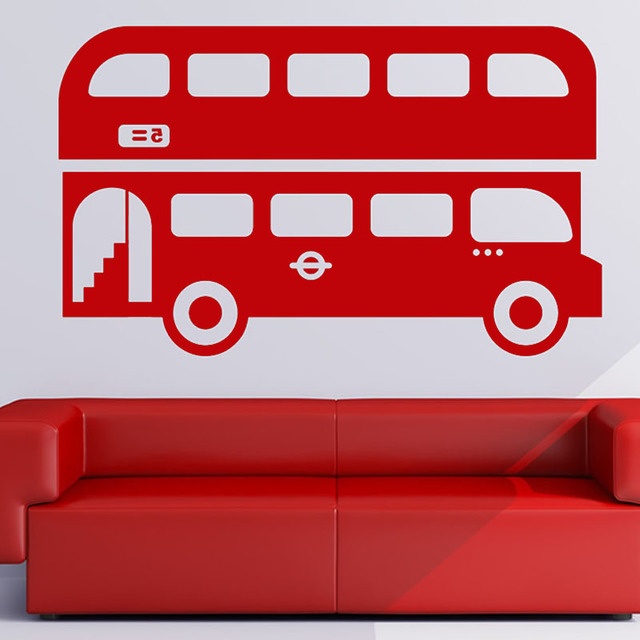 The skys the limit quotes wall sticker for kids room double decker bus pvc removable home