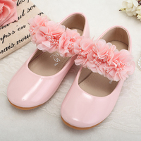New 2018 girls flats high quality Japanned leather children shoes fashion flower kids flat shoes for 2 14 years old