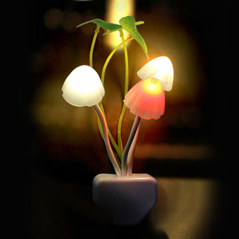 Novelty Mushroom Fungus Night Light EU US Plug Light Sensor 220V 3 LED Colorful Mushroom Lamp