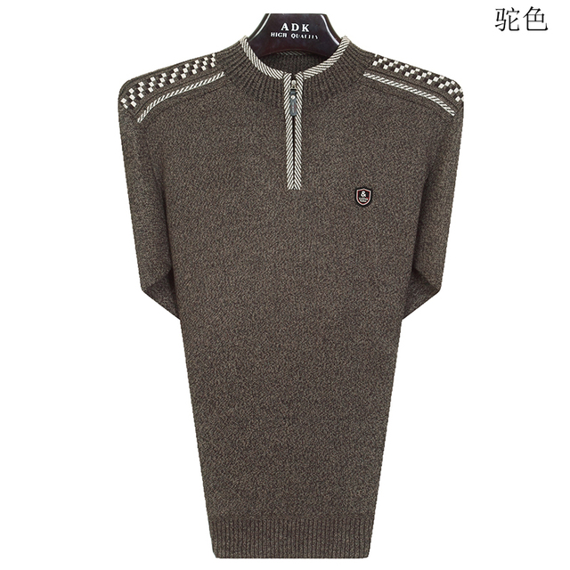 WAEOLSA Mature Men Pullover Sweaters Red Navy Blue Beige Knitwear Mans Casual Knitted Pullovers Quater Zipper Wool Sweaters Man