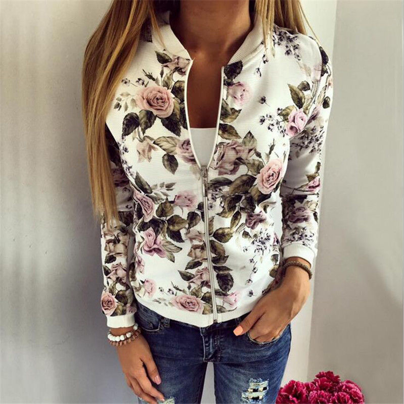 Women Ladies Biker Celebrity Camo Flower Floral Print Bomber Jacket Outwear Coat