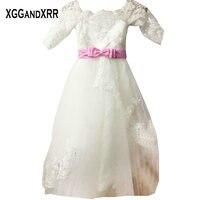 Half Sleeves Tulle A Line Flower Girl Dresses 2018 Scoop Appliques Beaded Sashes Zipper Back Tea Length Kids Prom Dresses