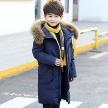 Russia Winter -30 Degree Long Duck Down Jackets For Boys Coats and Jackets Fur Collar Hooded Coat Kids Parka Children Snowsuit