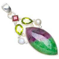 Natural Ruby Zoisite,Peridot,River Pearl and Garnet Handmade Unique 925 Sterling Silver Pendant 2 A0119