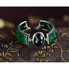 Guaranteed Natural Jade Cuff Bracelets 925 Sterling Silver Bangle With Black Agate Charm Wide Classic Inspirational Bracelets
