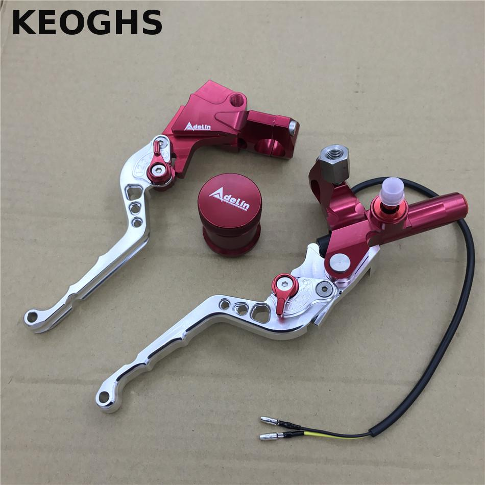 "KEOGHS Adelin Cnc Brek Master Tail Silinder 7/8 ""22mm Universal Handlebar Clutch Tever + Brake Pump Tever For Scooter Yamaha"