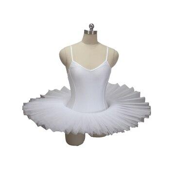 White Classical Ballet Tutus V Neck Princess Front Camisole Leotard Dress Tutu with Hard Tulle