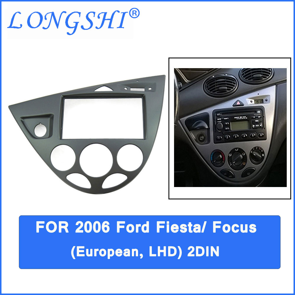 Car refitting DVD frame,DVD panel,Dash Kit,Fascia for 06 Ford Fiesta/ Focus, 2DIN (European, LHD) silver car 2din stereo panel fascia radio refitting dash trim kit for ford focus 98 04 rhd fiesta 95 01 rhd ca5038