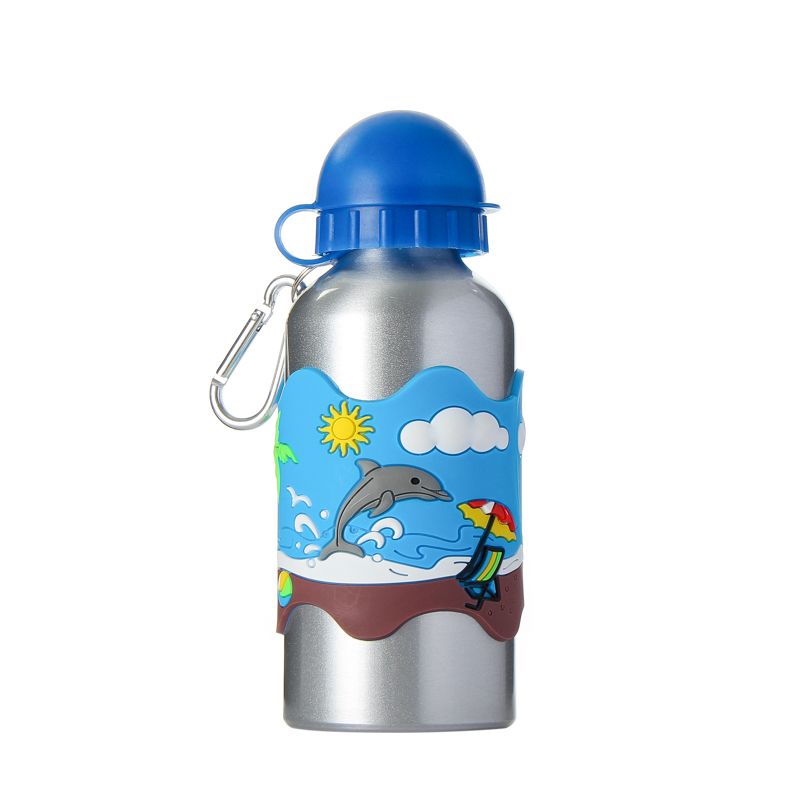 Children Cartoon Water Bottle 3D Blue PVC Embossed Dolphin Beach Aluminium Alloy With Clasp Traveling Kettle
