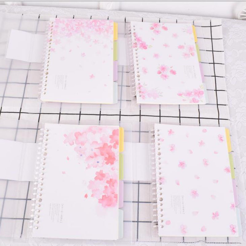 1 Pcs A5 PP Loose Leaf Index Paper Category Page Cherry Sakura Separator Separation Divider Page Notebook For Student Gift matrix 74496 page 1