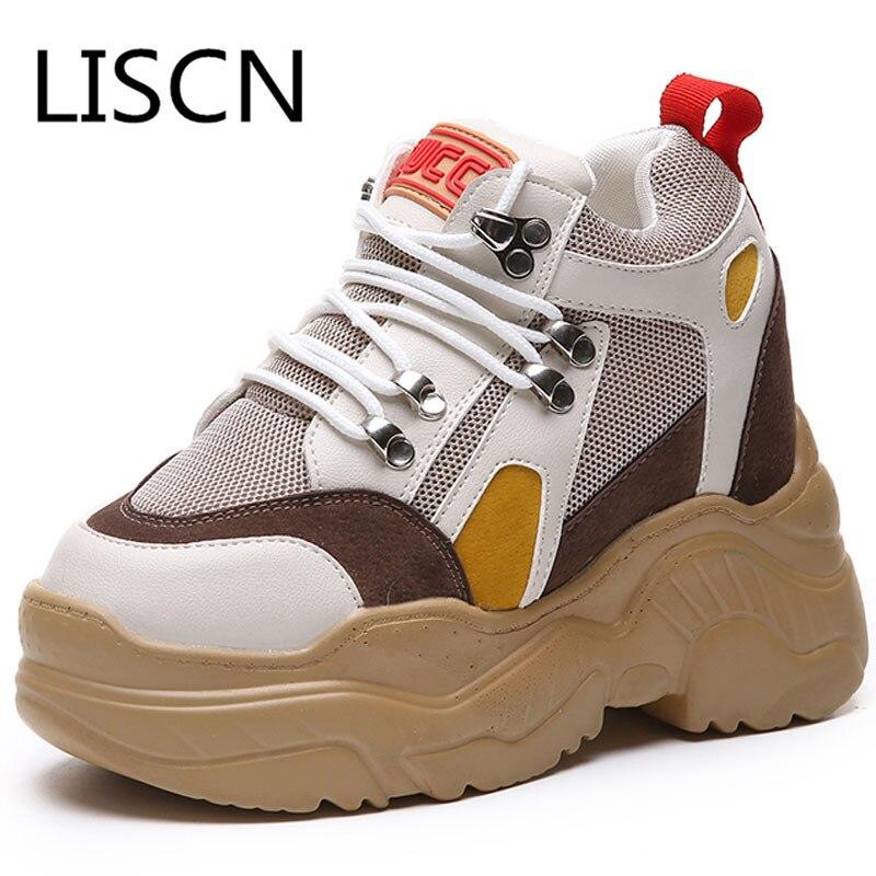 cde3a8256871 Genuine Leather + Mesh Women s Platform Dad Sneakers 2018 New Fashion ins Buckle  Women Flat Walking