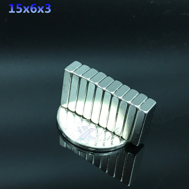 10pcs 15mmx6mmx3mm Super Strong magnets 15*6*3 mm Block NdFeB Cuboid Rare Earth Neodymium Magnets 15x6x3mm