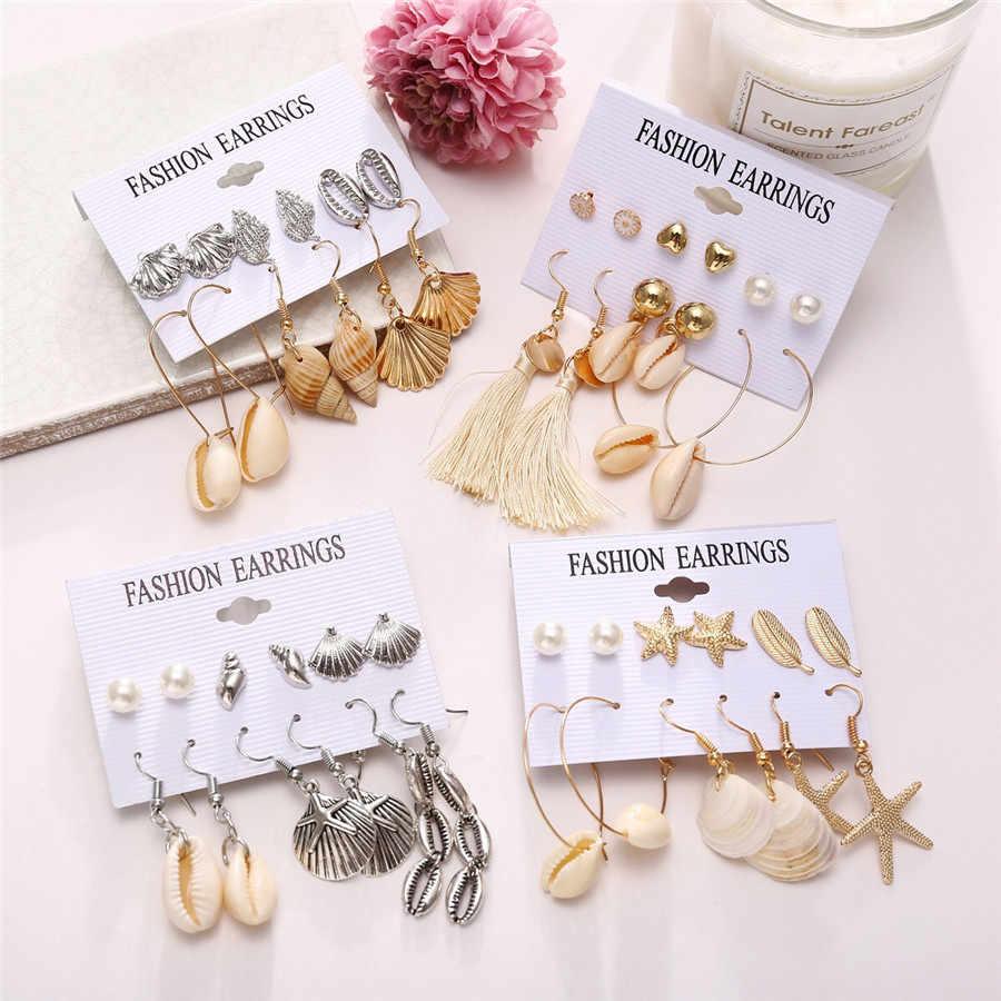 Vintage Beach Sea Shell Long Tassel Earrings For Women Boho Conch Starfish Drop Earings Set Girl Indian Brincos Jewelry 2019