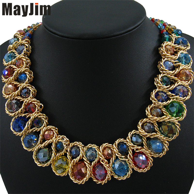 Statement Fashion Necklace for Women 2017 Vintage Collar Gold Chain Big Double Bead Crystal Choker Necklaces
