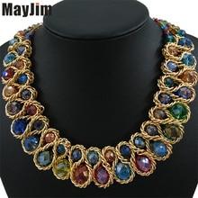 Collar de Cadena de Oro Collar de Moda declaración para Las Mujeres 2017 de La Vendimia Grande Doble Del Grano de Cristal Gargantilla Collares y Colgantes de Bisutería