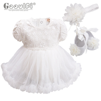 Gooulfi Baby Dresses Baby Girl Baptism Dresses With Headband Shoes Sets Solid Floral Summer White Boutique