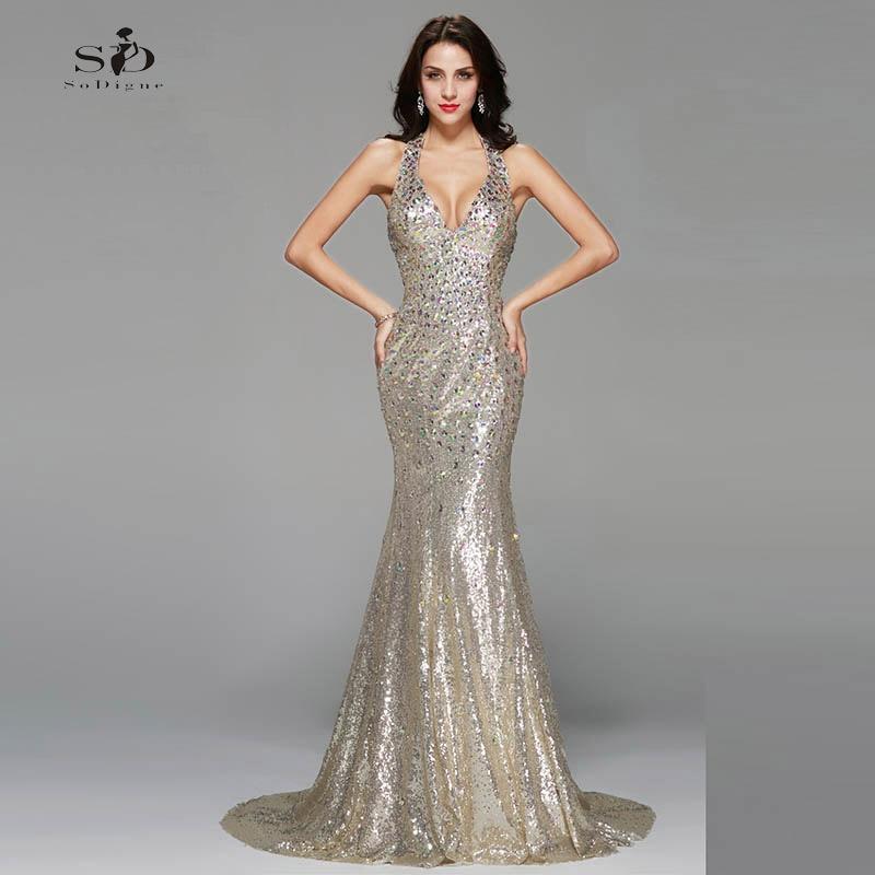 Formal Evening Gowns By Designers: Vestidos Formatura Longo V Neck Crystals Mermaid Prom