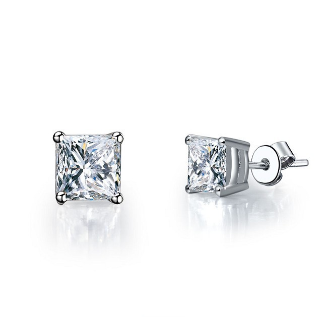 1ct Piece Princess Cut 925 Sterling Silver White Gold Finish Fine Diamond Stud Earrings Wedding